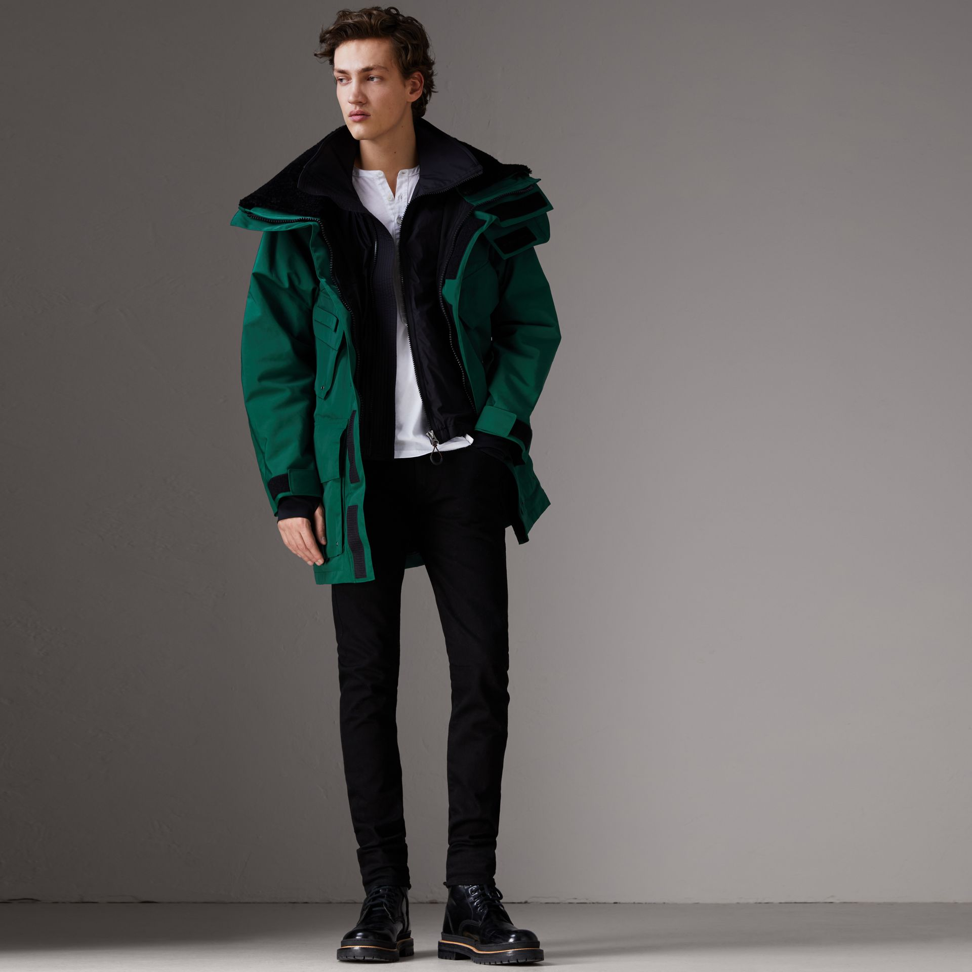 Detachable Shearling Collar Modular Jacket with Warmer in Sea Green - Men | Burberry - gallery image 8