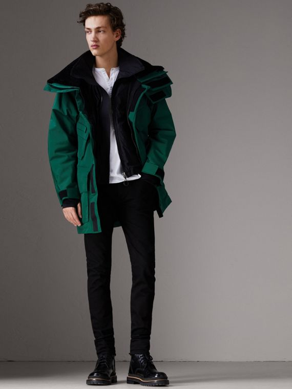 Detachable Shearling Collar Modular Jacket with Warmer in Sea Green