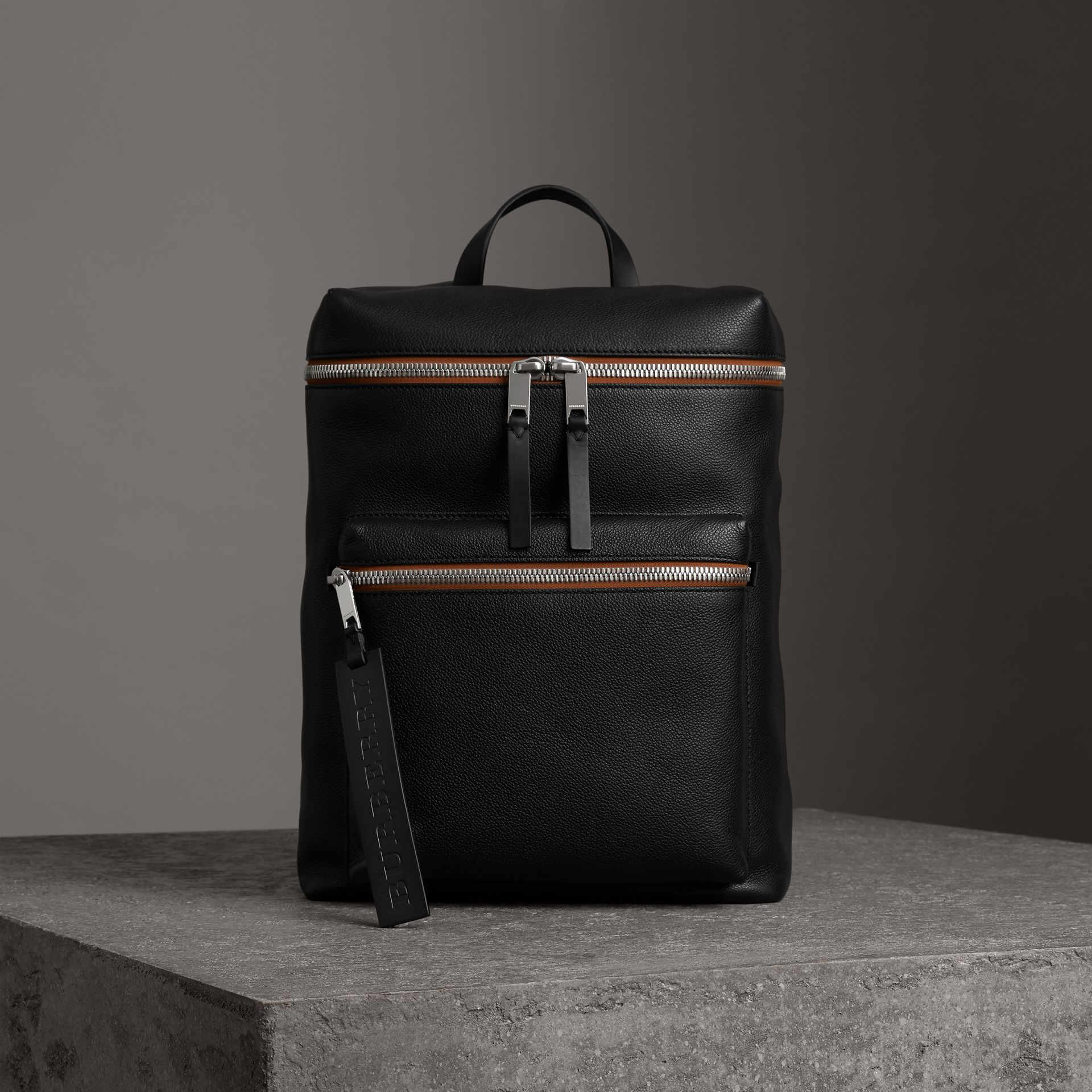 Zip-top Leather Backpack in Black - Men | Burberry Australia - gallery image 0