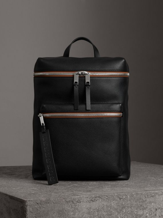 Zip-top Leather Backpack in Black