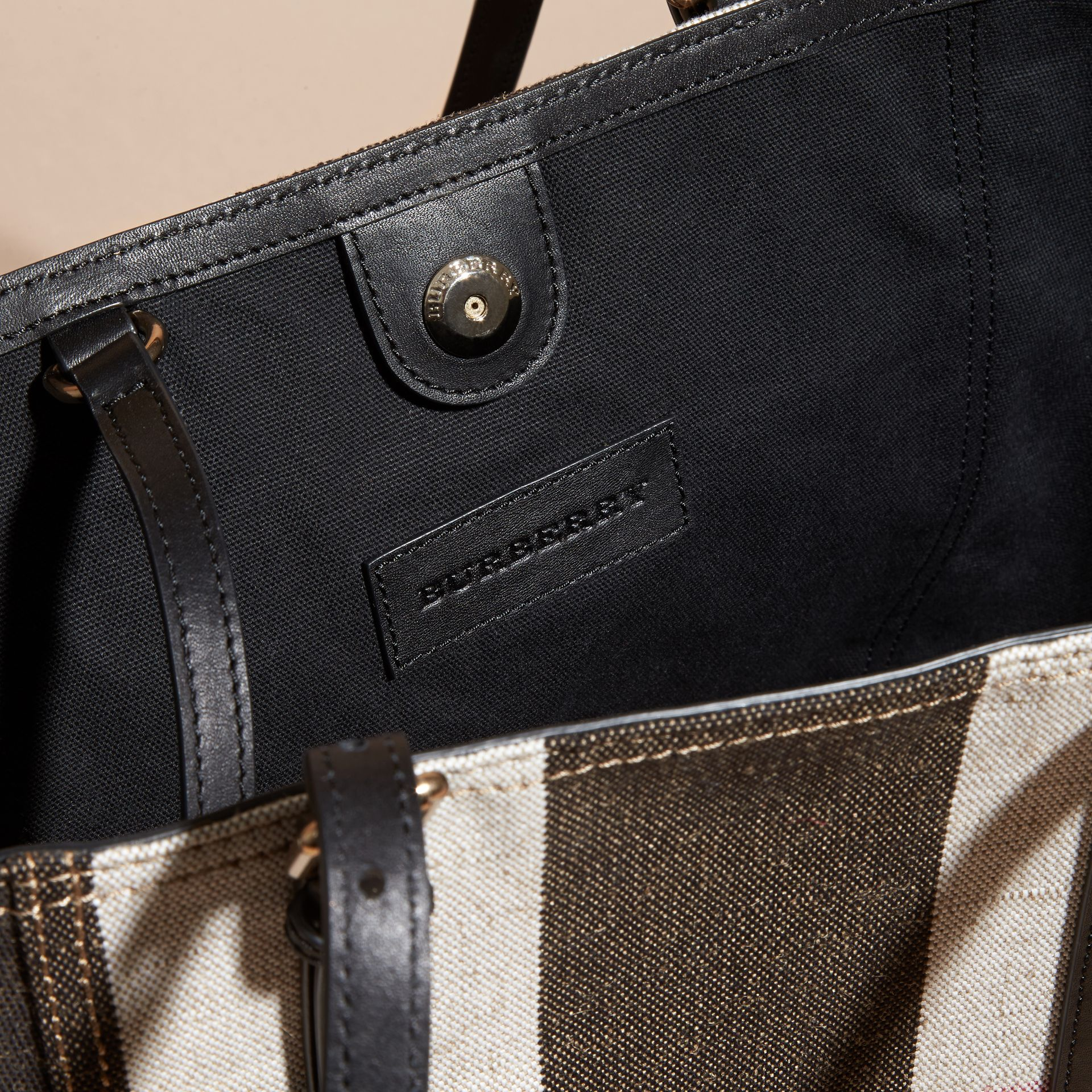 Black Striped Canvas Tote with Leather Trim - gallery image 6