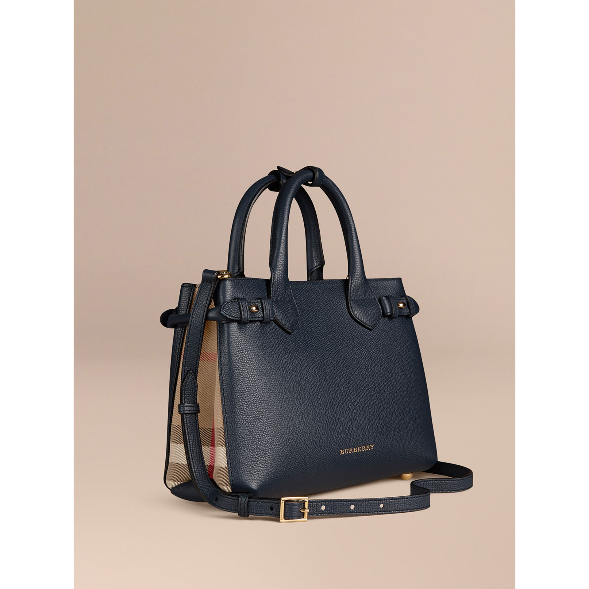The Small Banner in Leather and House Check in Ink Blue - Women | Burberry - gallery image 0