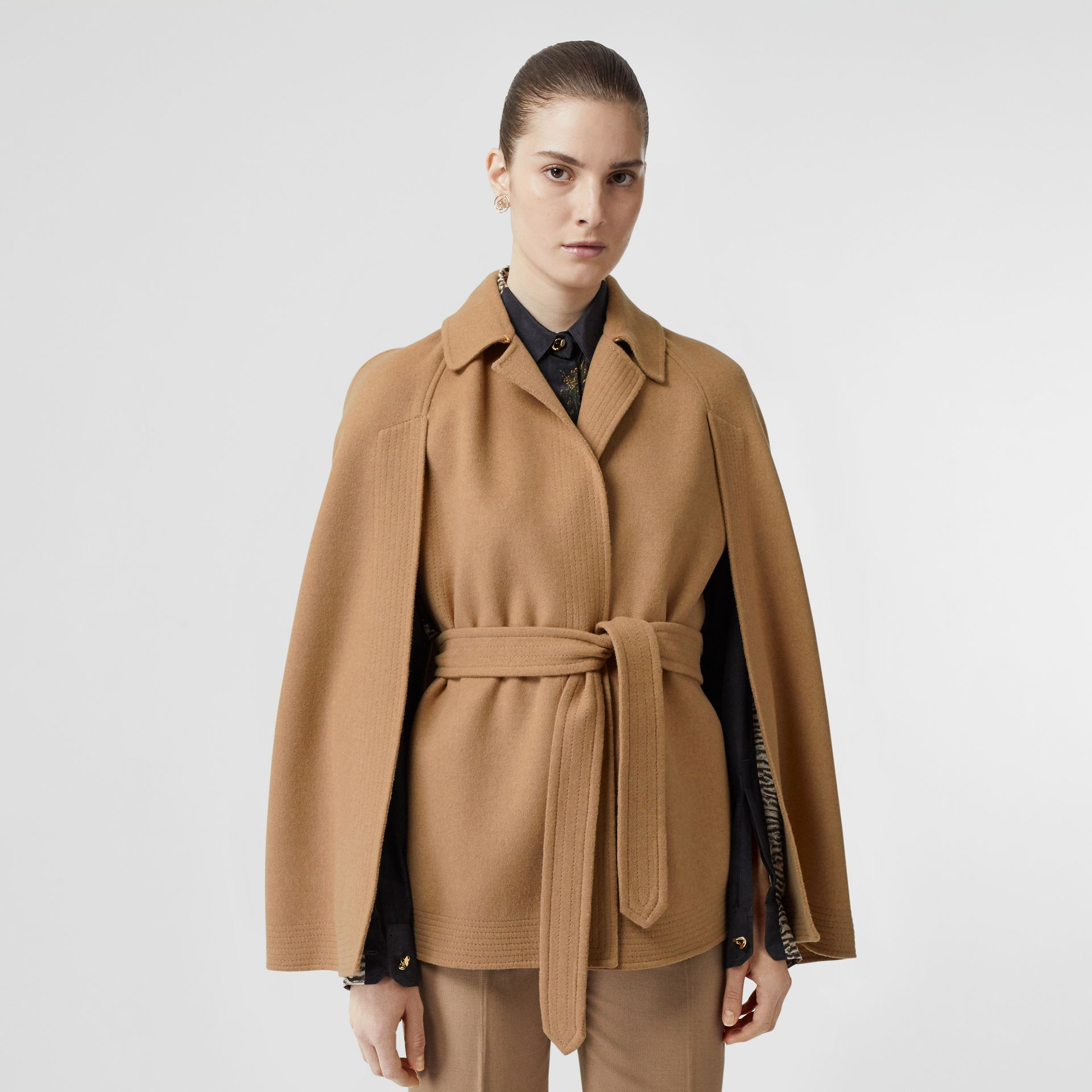 Double-faced Camel Hair Belted Cape - Women | Burberry Singapore - gallery image 5