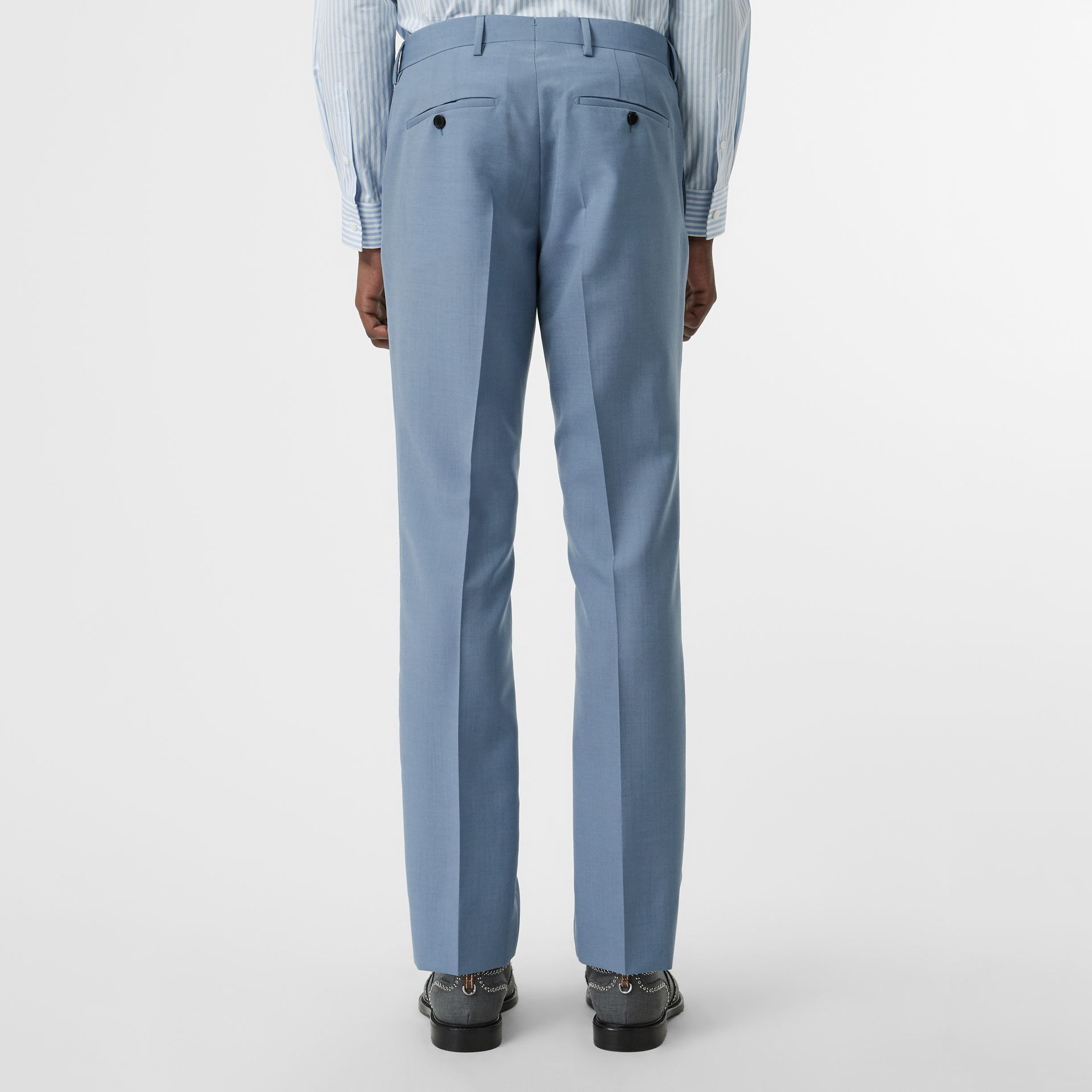 Classic Fit Wool Tailored Trousers in Pale Blue - Men | Burberry Singapore - gallery image 2