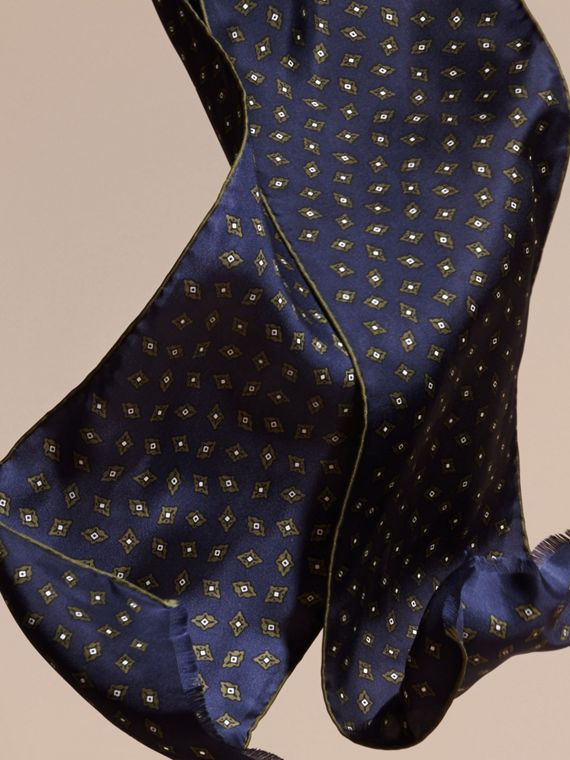 Navy Tie-inspired Print Silk Scarf - cell image 3