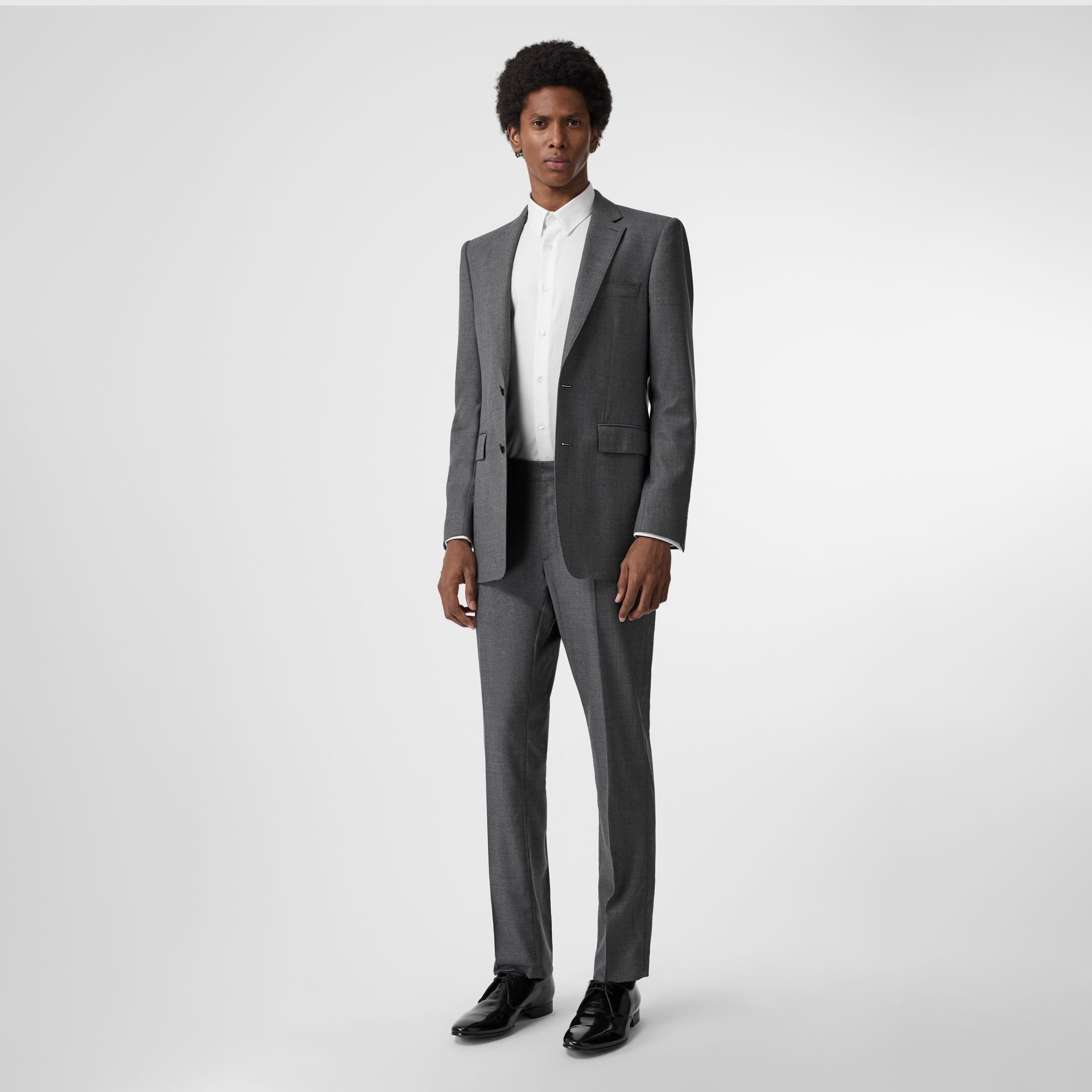Classic Fit Sharkskin Wool Suit in Mid Grey Melange - Men | Burberry Canada - gallery image 0