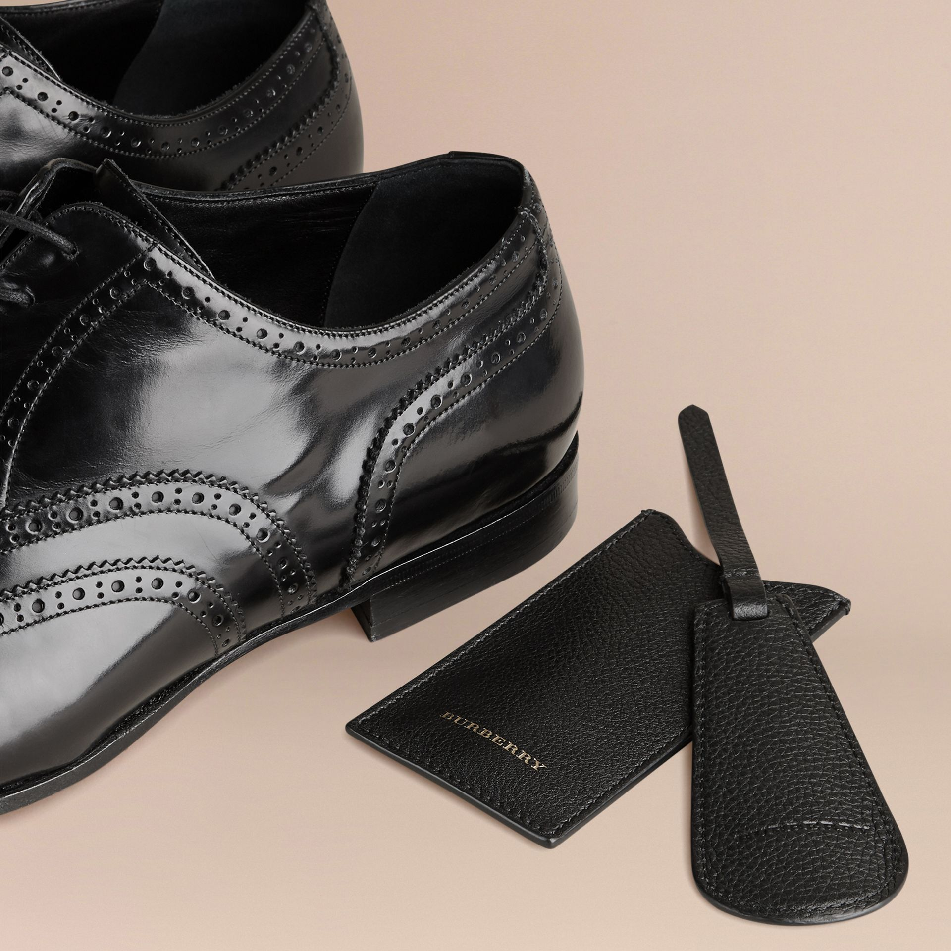 Leather Shoe Horn in Black - Men | Burberry - gallery image 3