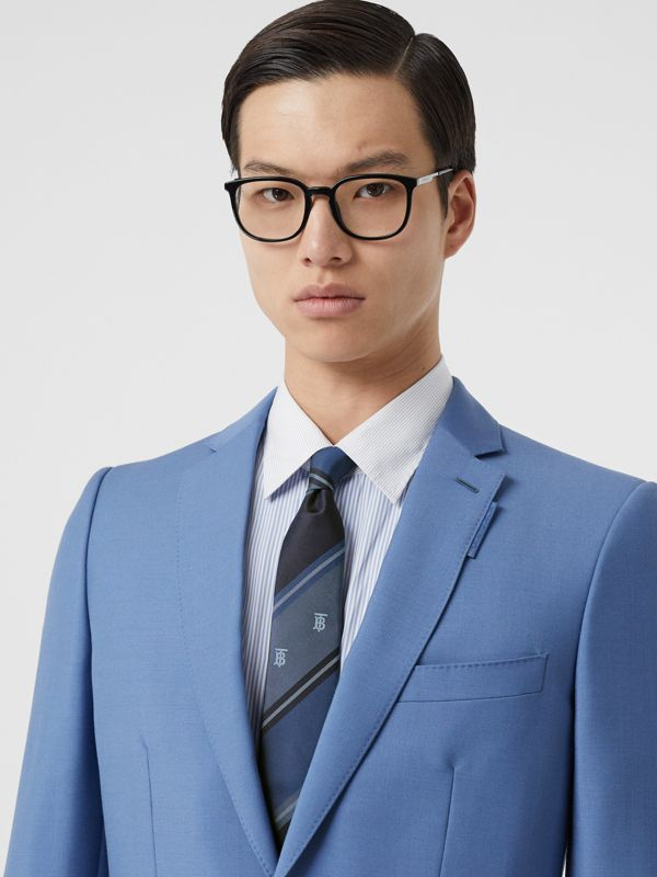 Classic Cut Monogram Motif Striped Silk Jacquard Tie in Bright Steel Blue - Men | Burberry - cell image 2