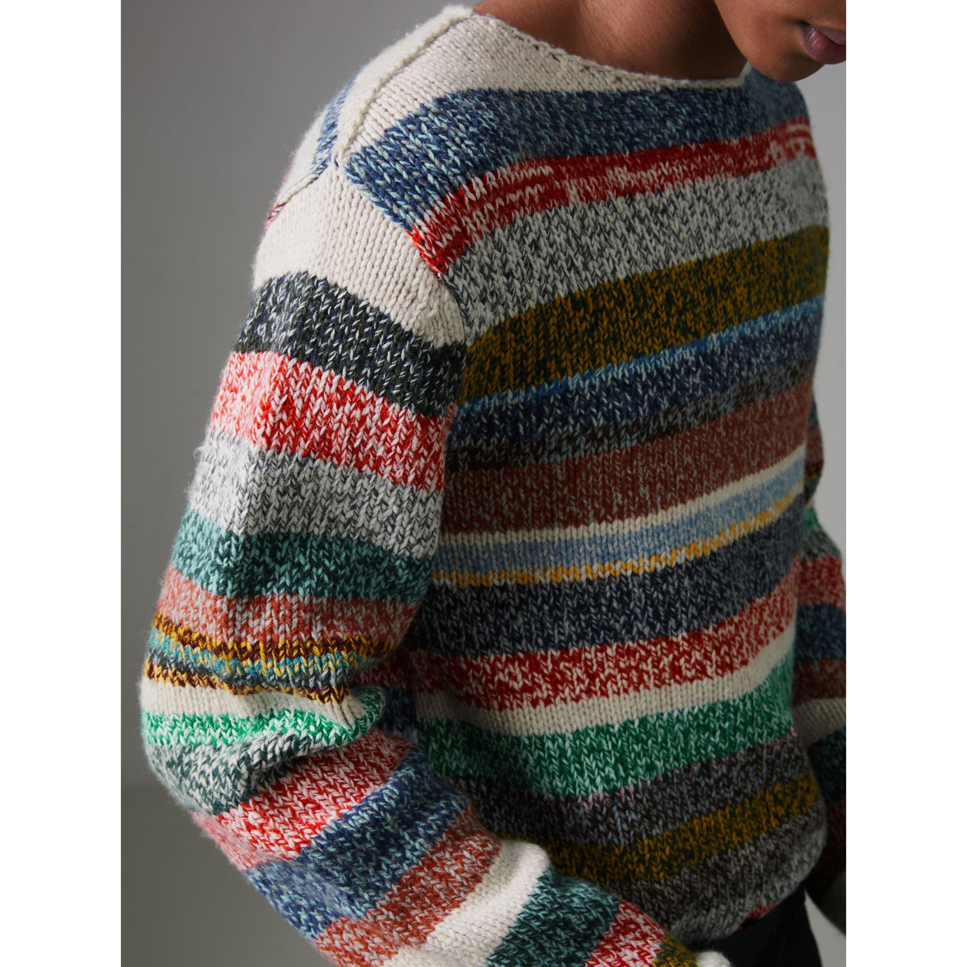 Striped Merino Wool Mouliné Sweater in Multicolour - Men | Burberry Australia - gallery image 1