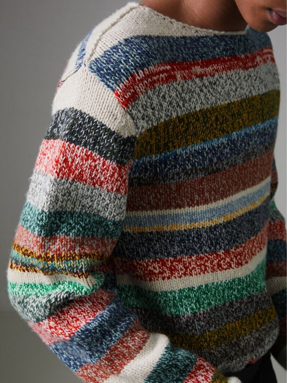 Striped Merino Wool Mouliné Sweater in Multicolour - Men | Burberry United Kingdom - cell image 1