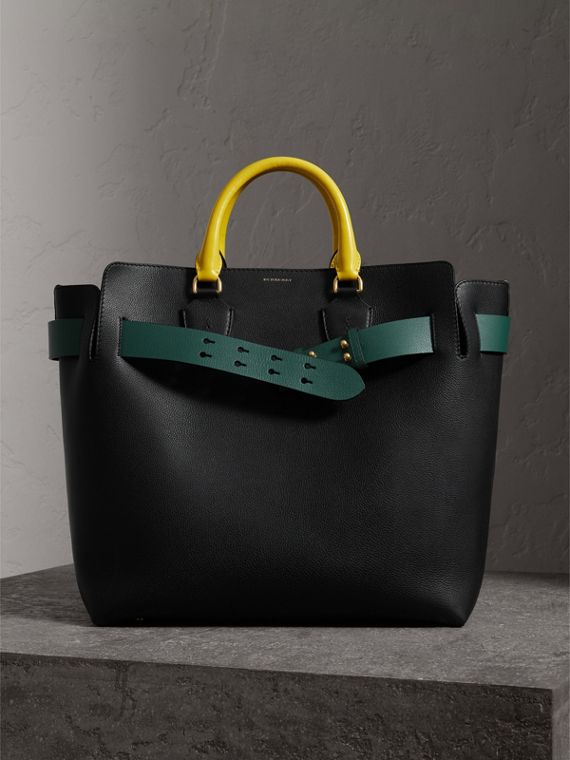 Borsa The Belt grande in pelle con tre colori (Nero/verde Mare)