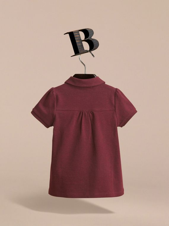 Peter Pan Collar Cotton Piqué Polo Shirt in Burgundy Melange - Girl | Burberry - cell image 3