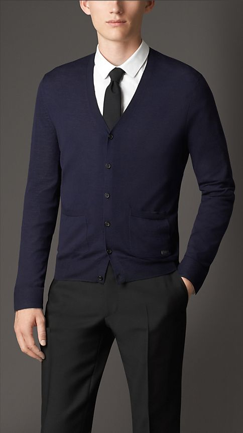Navy V-Neck Merino Wool Cardigan - Image 1