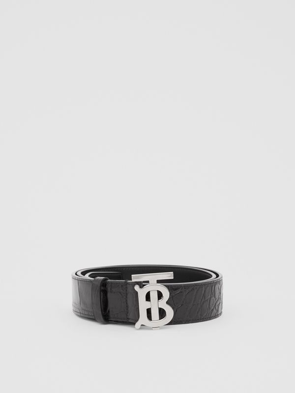 Monogram Motif Embossed Leather Belt in Black - Men | Burberry United Kingdom - cell image 2