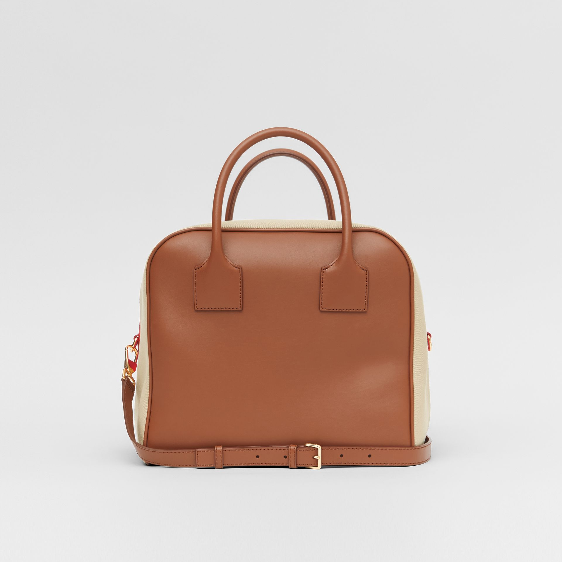 Medium Leather and Cotton Canvas Cube Bag in Malt Brown - Women | Burberry Australia - gallery image 6