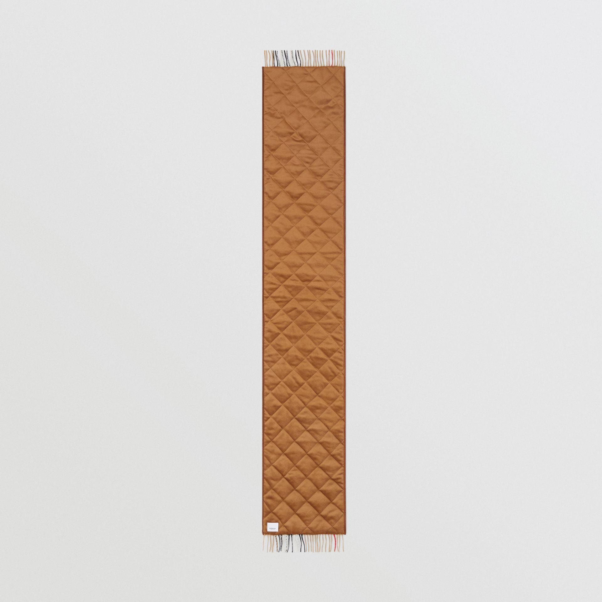 Lambskin Trim Vintage Check Cashmere Scarf in Dark Camel | Burberry - gallery image 6