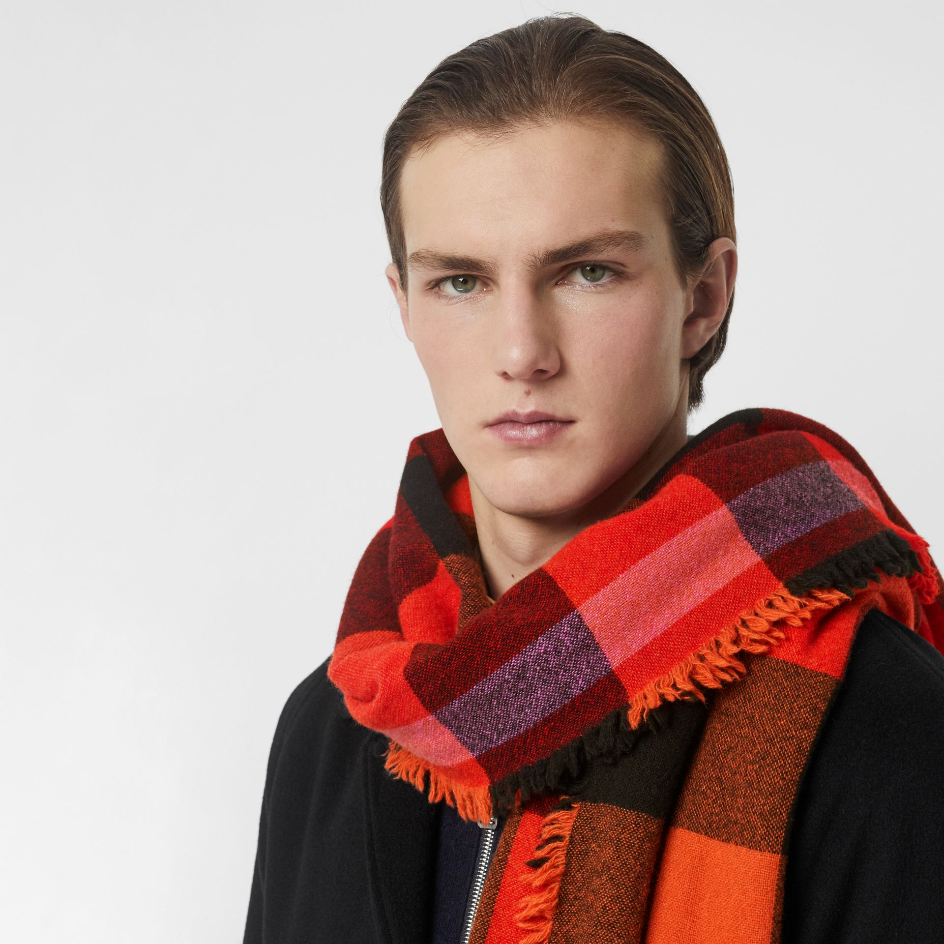 Fringed Check Wool Cashmere Scarf in Bright Orange Red | Burberry - gallery image 6