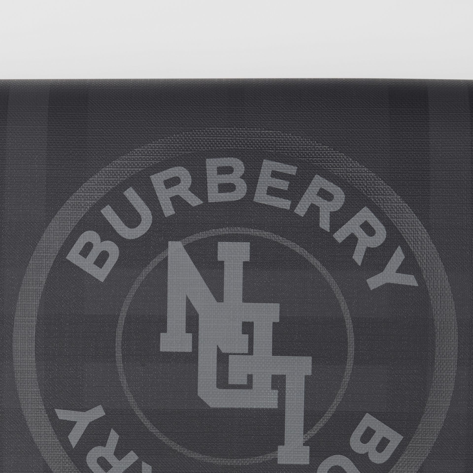Logo Graphic London Check Zip Pouch in Dark Charcoal - Men | Burberry Hong Kong S.A.R - gallery image 1
