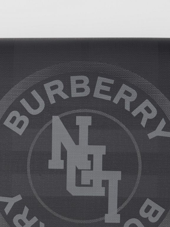 Logo Graphic London Check Zip Pouch in Dark Charcoal - Men | Burberry Hong Kong S.A.R - cell image 1