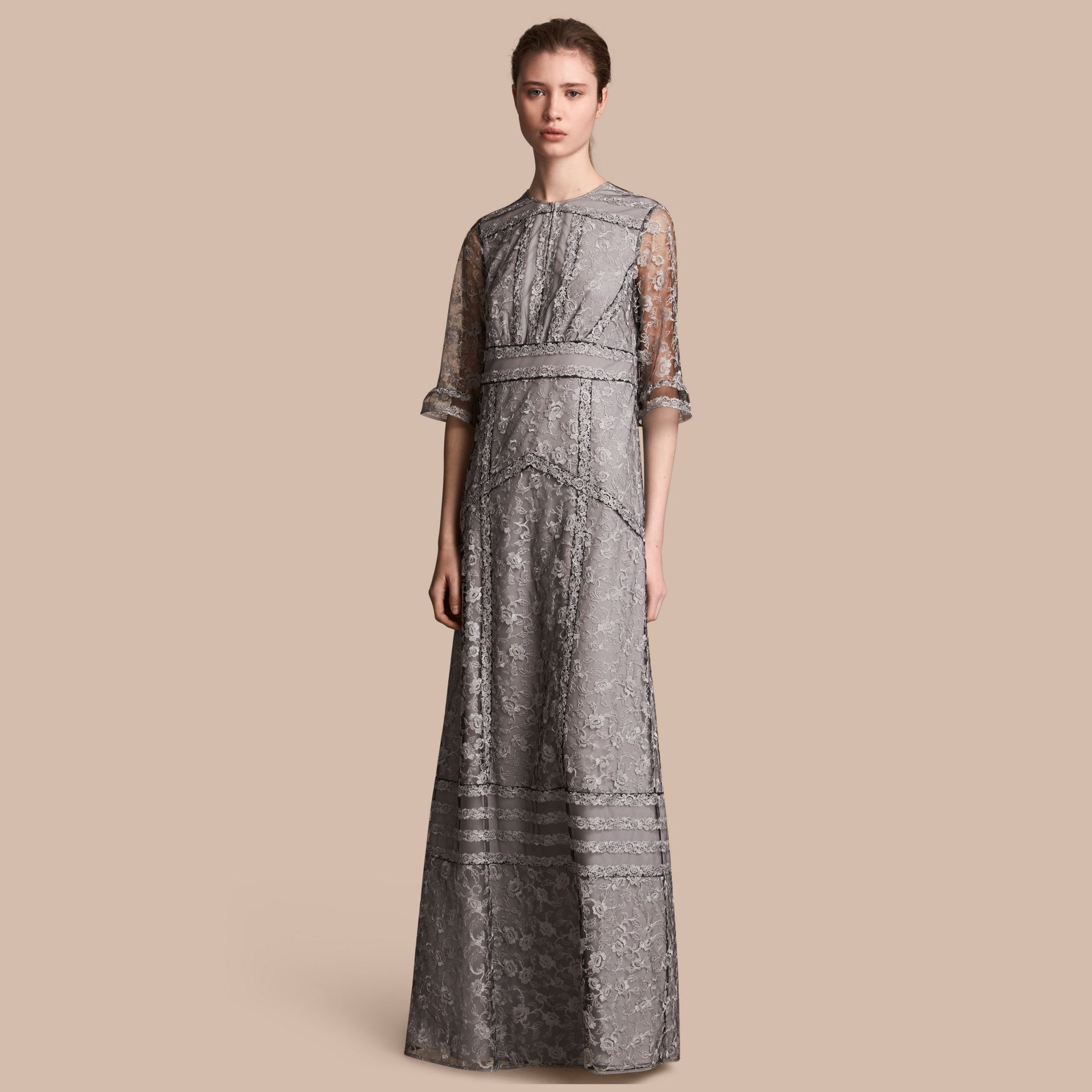Floral Lace Tulle Dress in Silver - Women | Burberry - gallery image 1