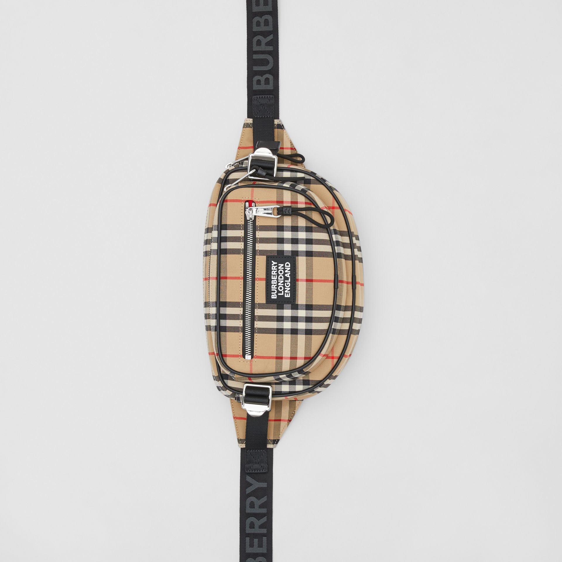 Medium Vintage Check Cotton Cannon Bum Bag in Archive Beige - Men | Burberry - gallery image 4