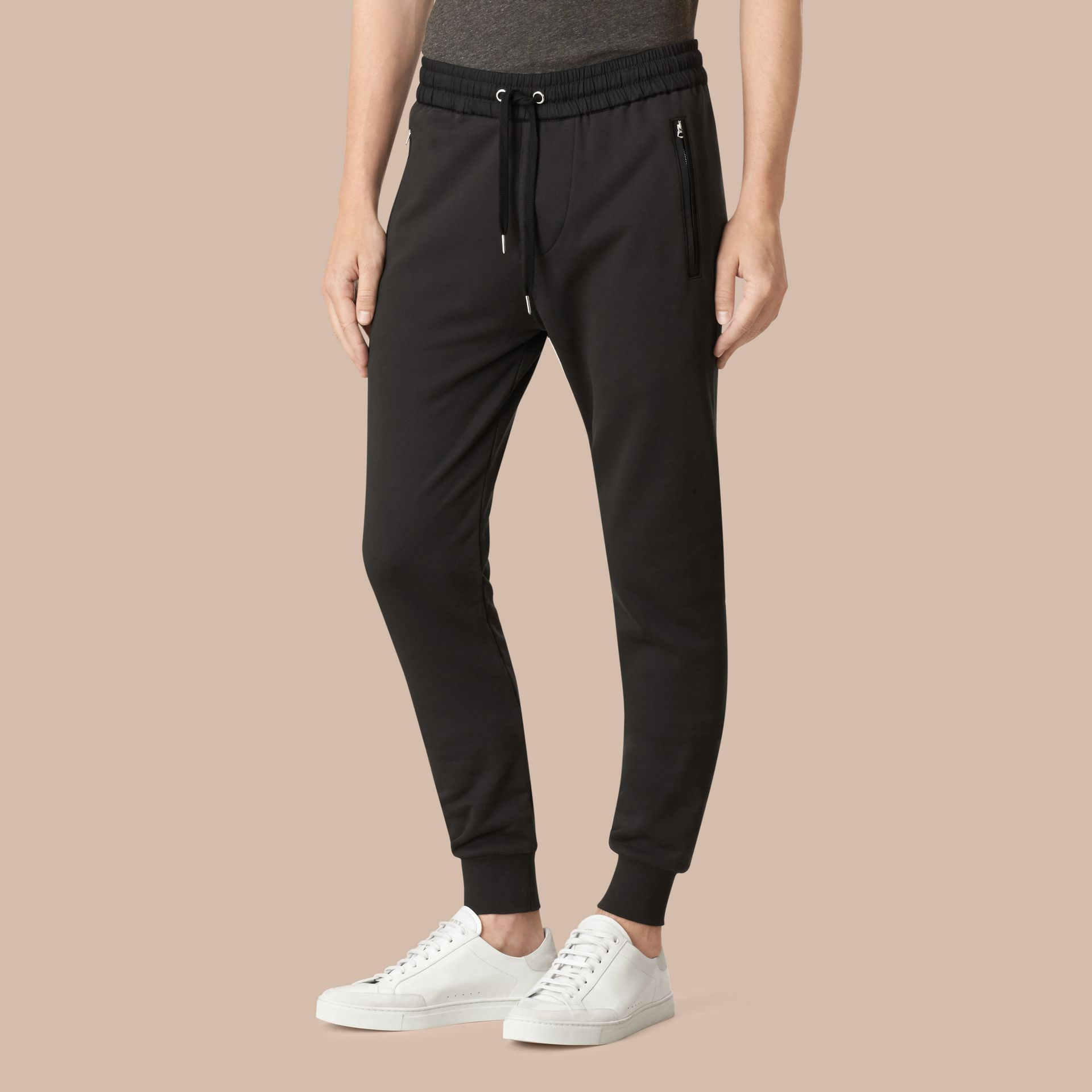 Cotton Sweatpants in Black - gallery image 4
