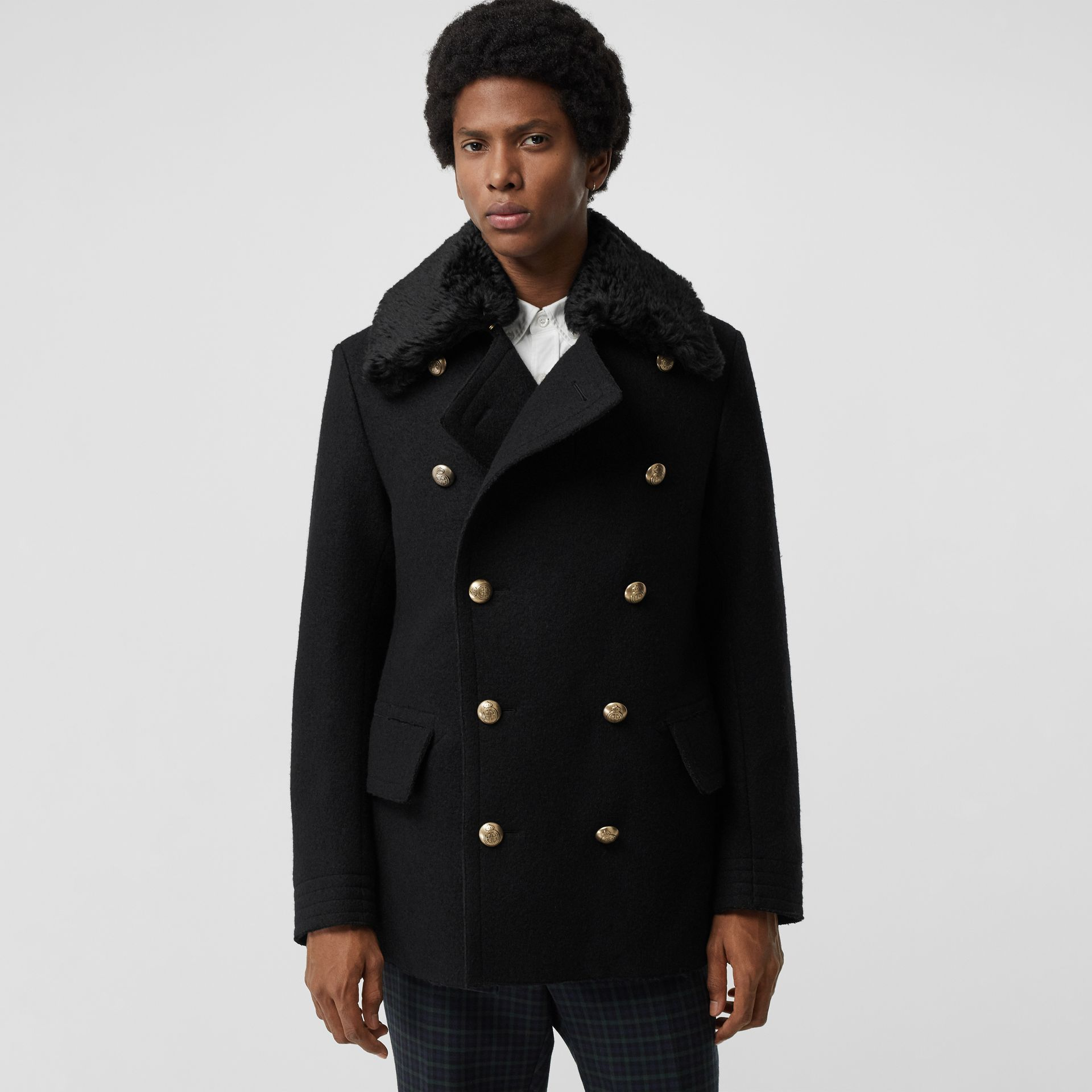 Detachable Shearling Collar Wool Pea Coat in Black - Men | Burberry - gallery image 5