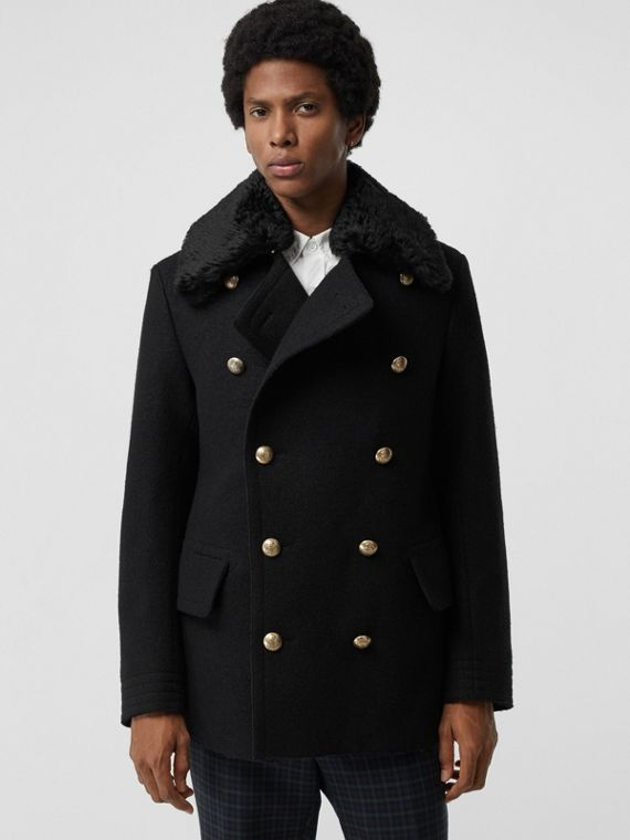 Detachable Shearling Collar Wool Pea Coat in Black
