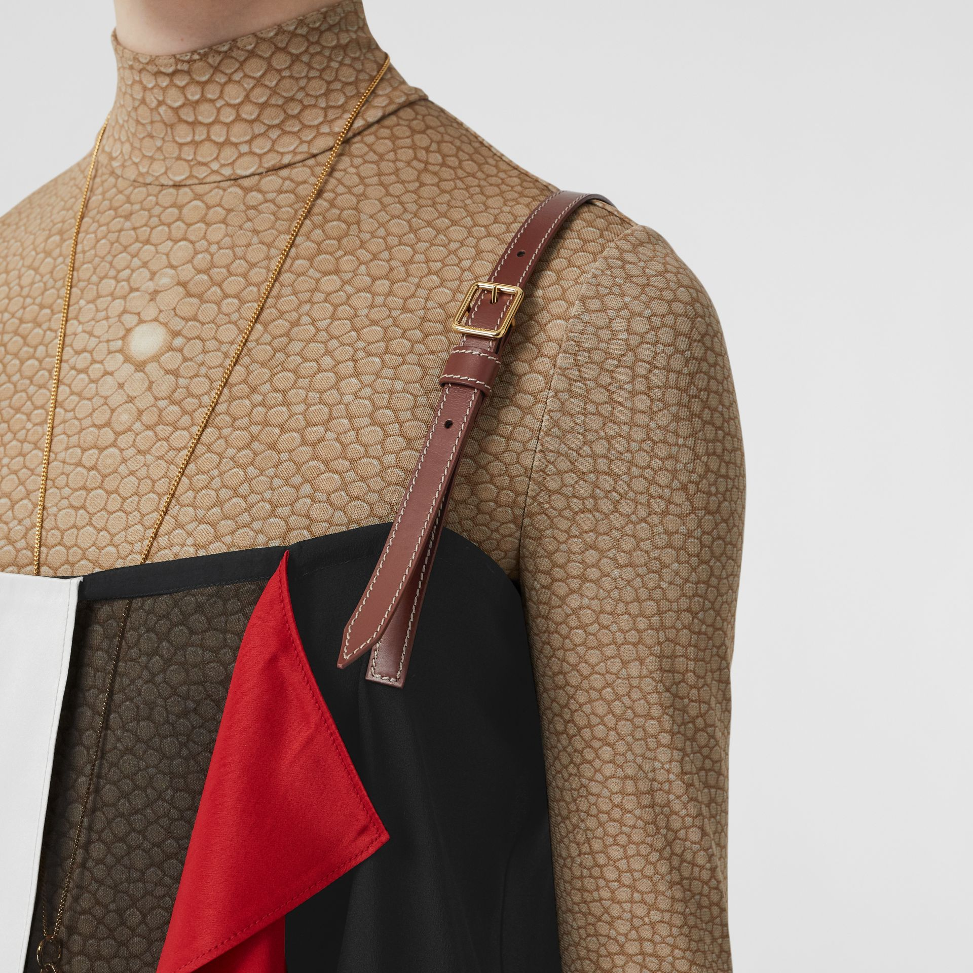 Leather Detail Colour Block Silk Top in Black - Women | Burberry - gallery image 5