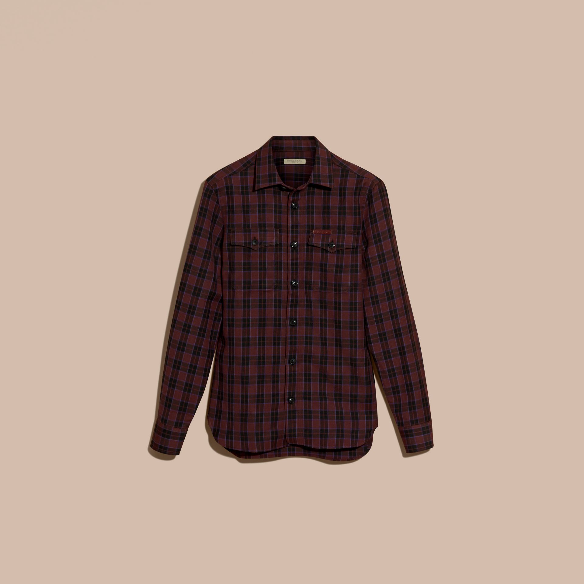 Burgundy red Black Watch Check Wool Blend Shirt Burgundy Red - gallery image 4
