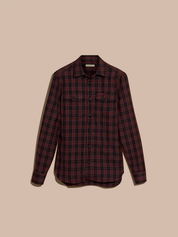 Burgundy red Black Watch Check Wool Blend Shirt Burgundy Red - cell image 3