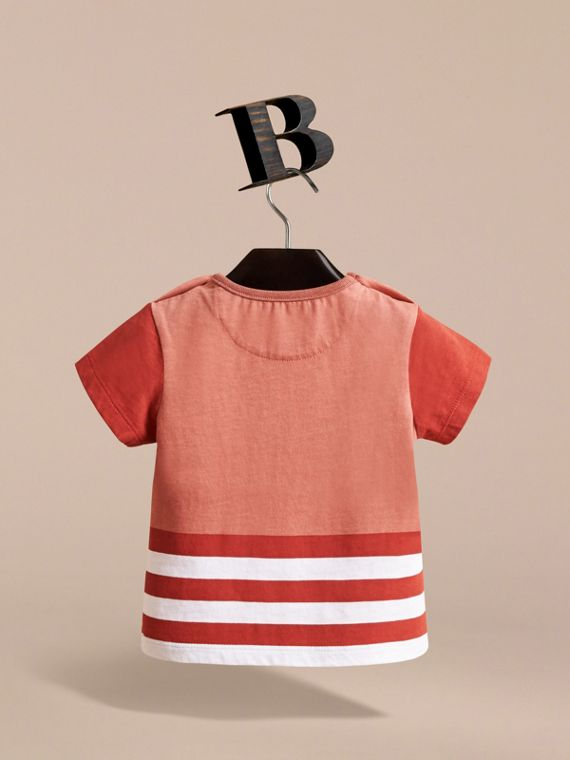 Bearded Gent Print Cotton T-shirt in Pale Cinnamon | Burberry - cell image 3