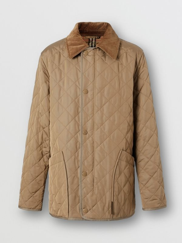 Diamond Quilted Thermoregulated Barn Jacket in Pale Granite - Men | Burberry - cell image 3