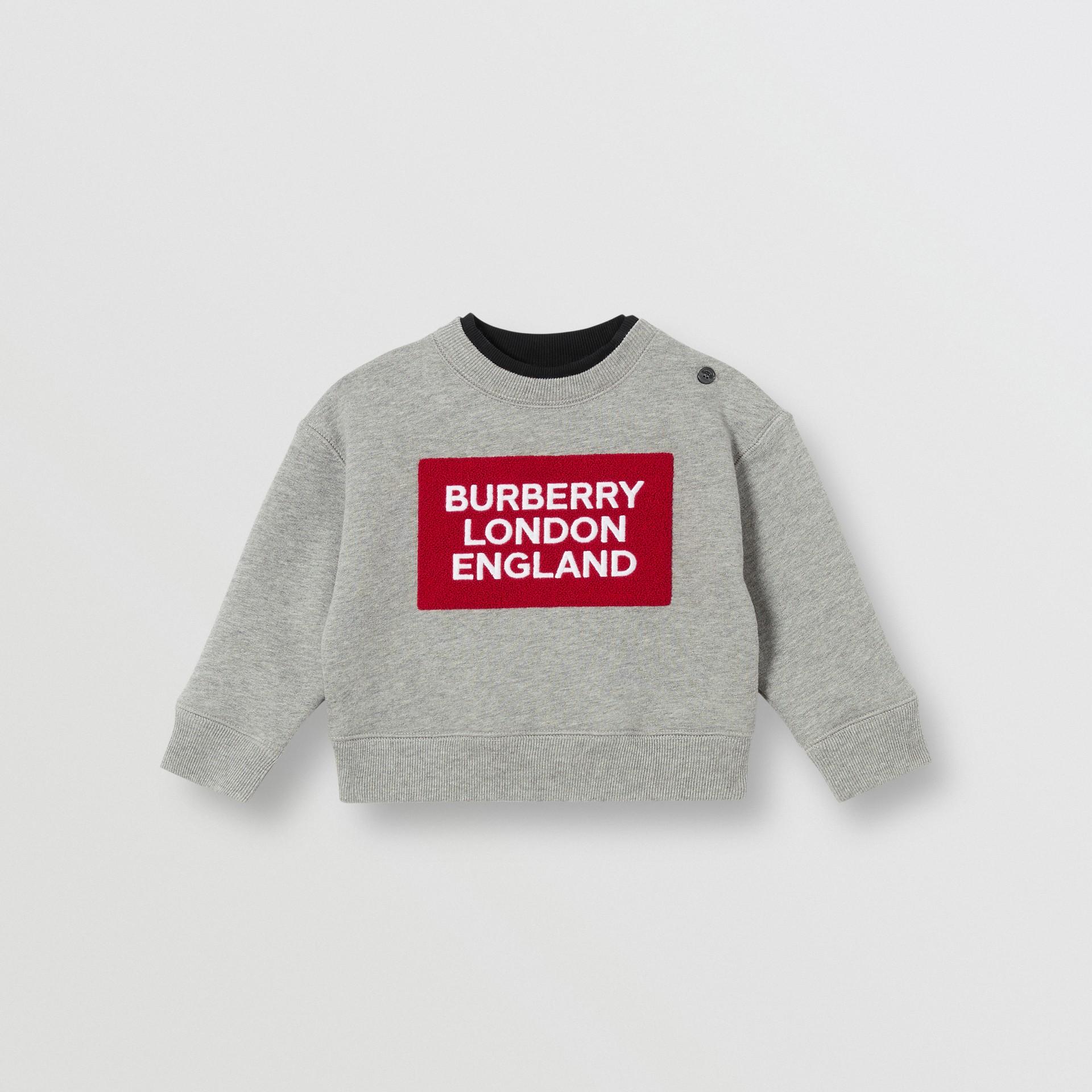 Logo Detail Jersey Sweatshirt in Grey Melange - Children | Burberry United Kingdom - gallery image 0