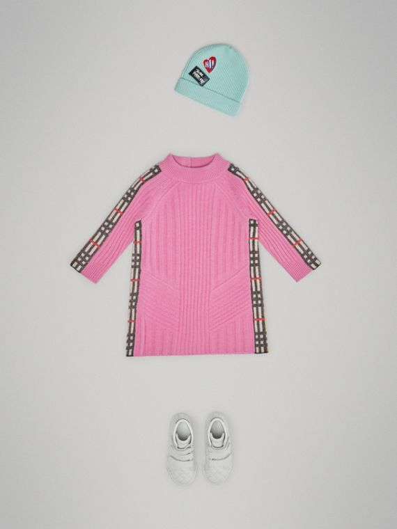 Платье из шерсти и кашемира в клетку (Ярко-розовый)