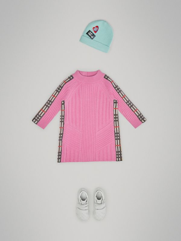 Check Detail Wool Cashmere Dress in Rose Pink - Children | Burberry - cell image 2