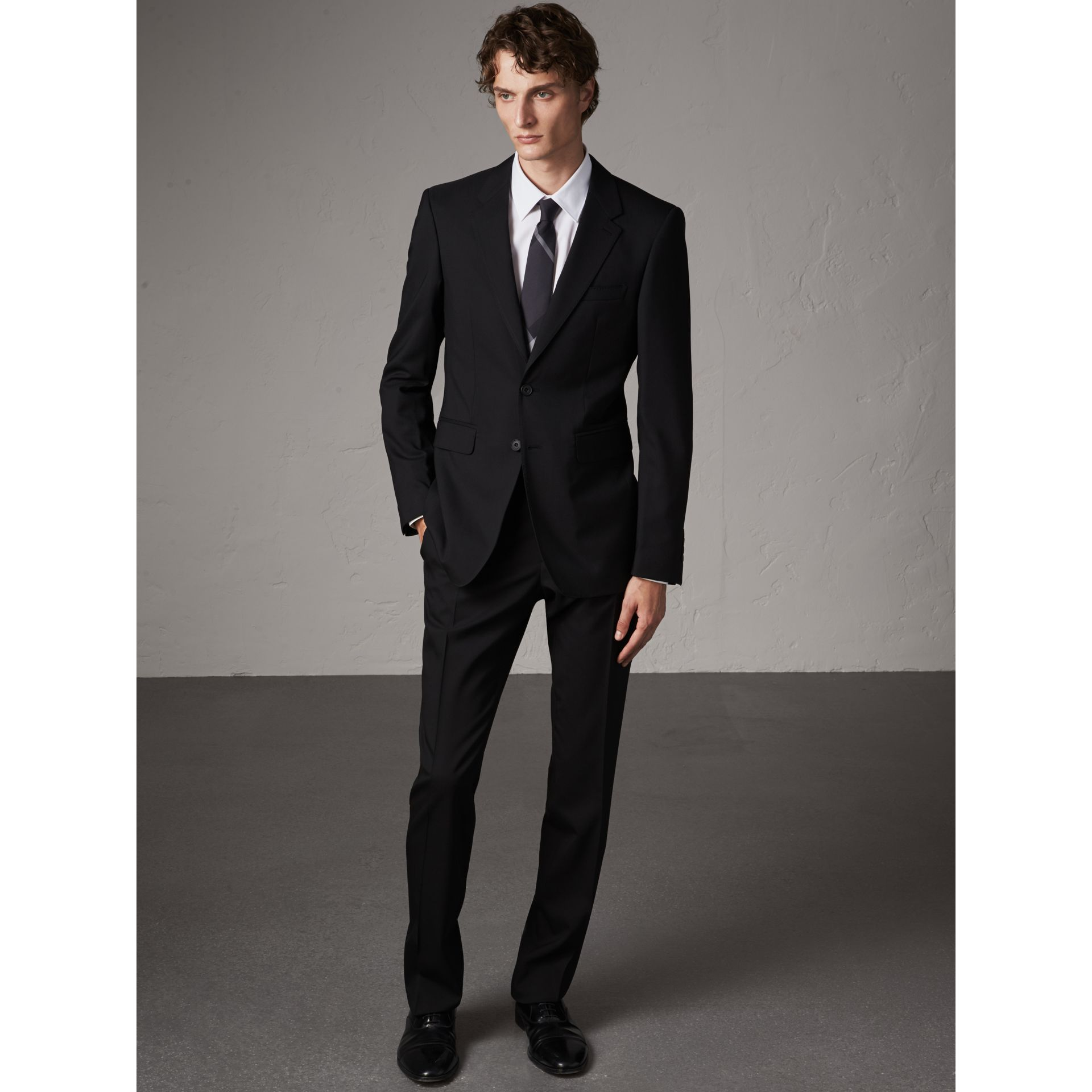 Modern Fit Wool Part-canvas Suit in Black - Men | Burberry Hong Kong - gallery image 1