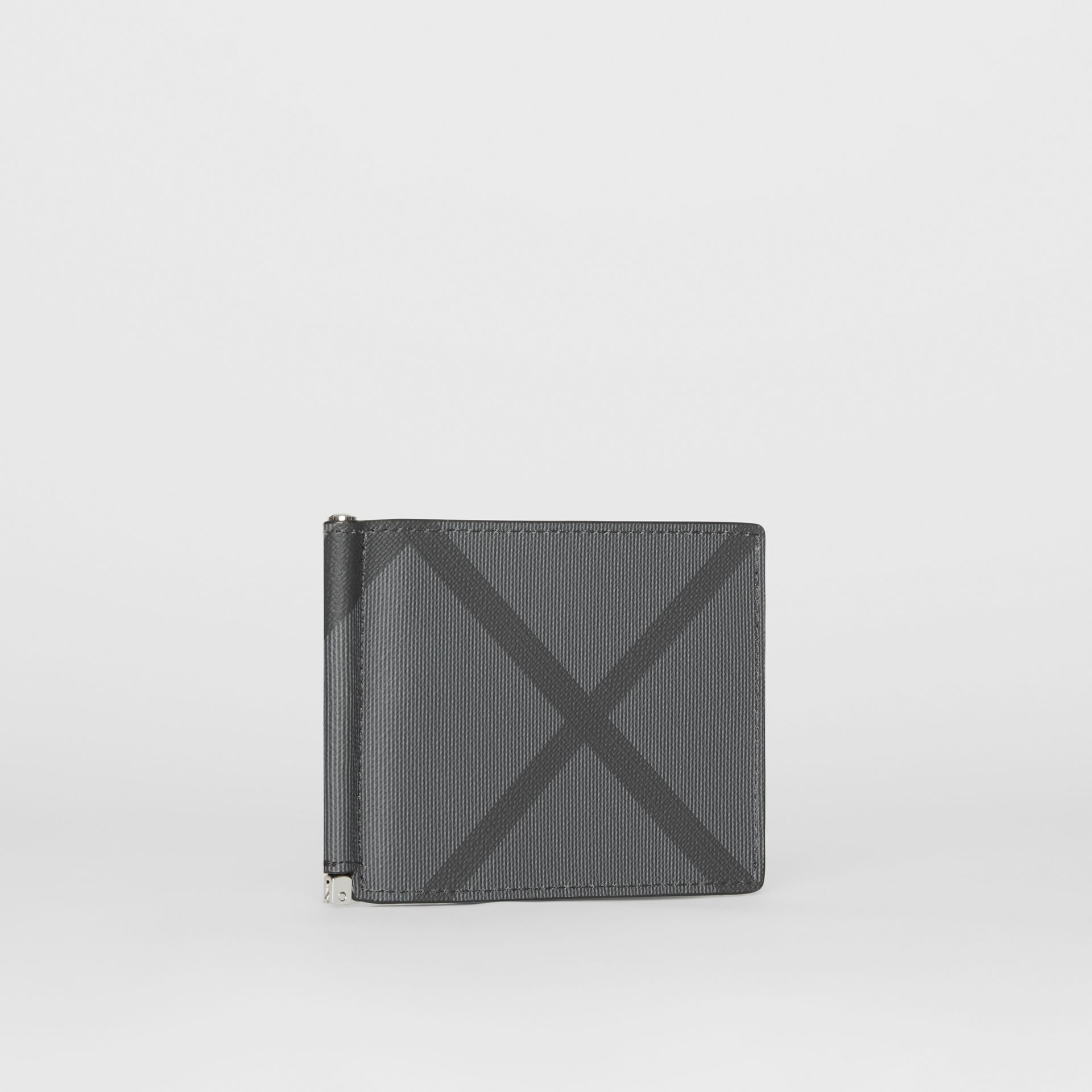 London Check and Leather Money Clip Card Wallet in Charcoal/black - Men | Burberry Canada - gallery image 3