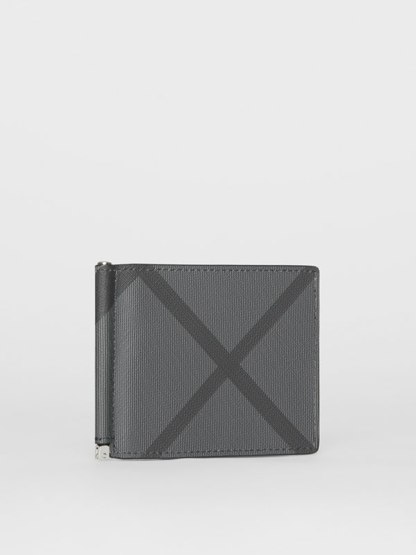 London Check and Leather Money Clip Card Wallet in Charcoal/black - Men | Burberry - cell image 3