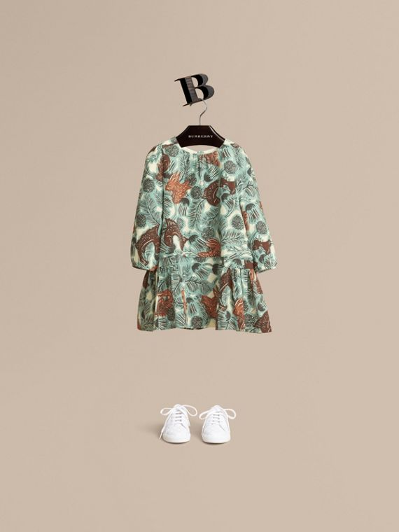 Beasts Print Silk Dropped-waist Dress - Girl | Burberry