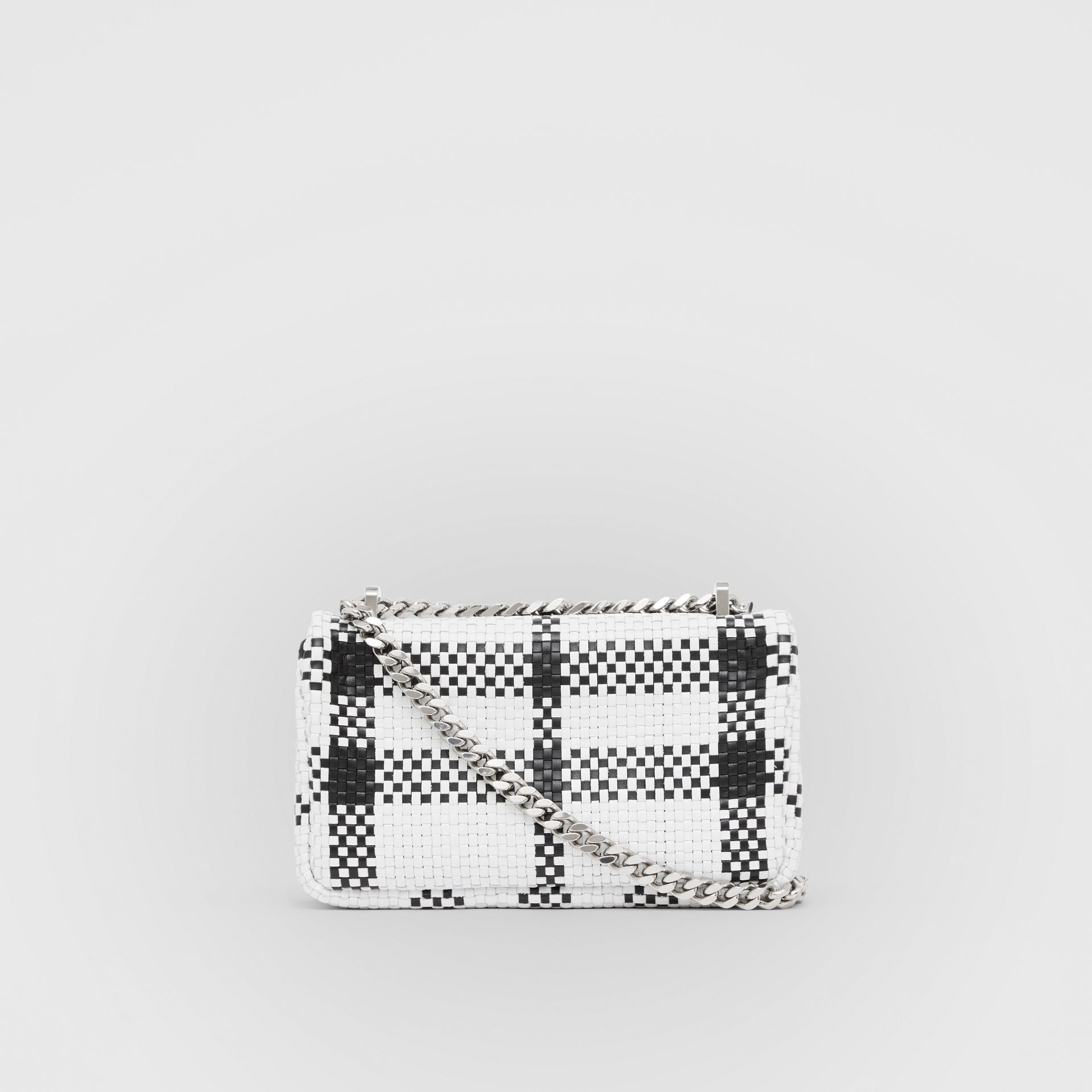 Mini Latticed Leather Lola Bag in Black/white - Women | Burberry - gallery image 7