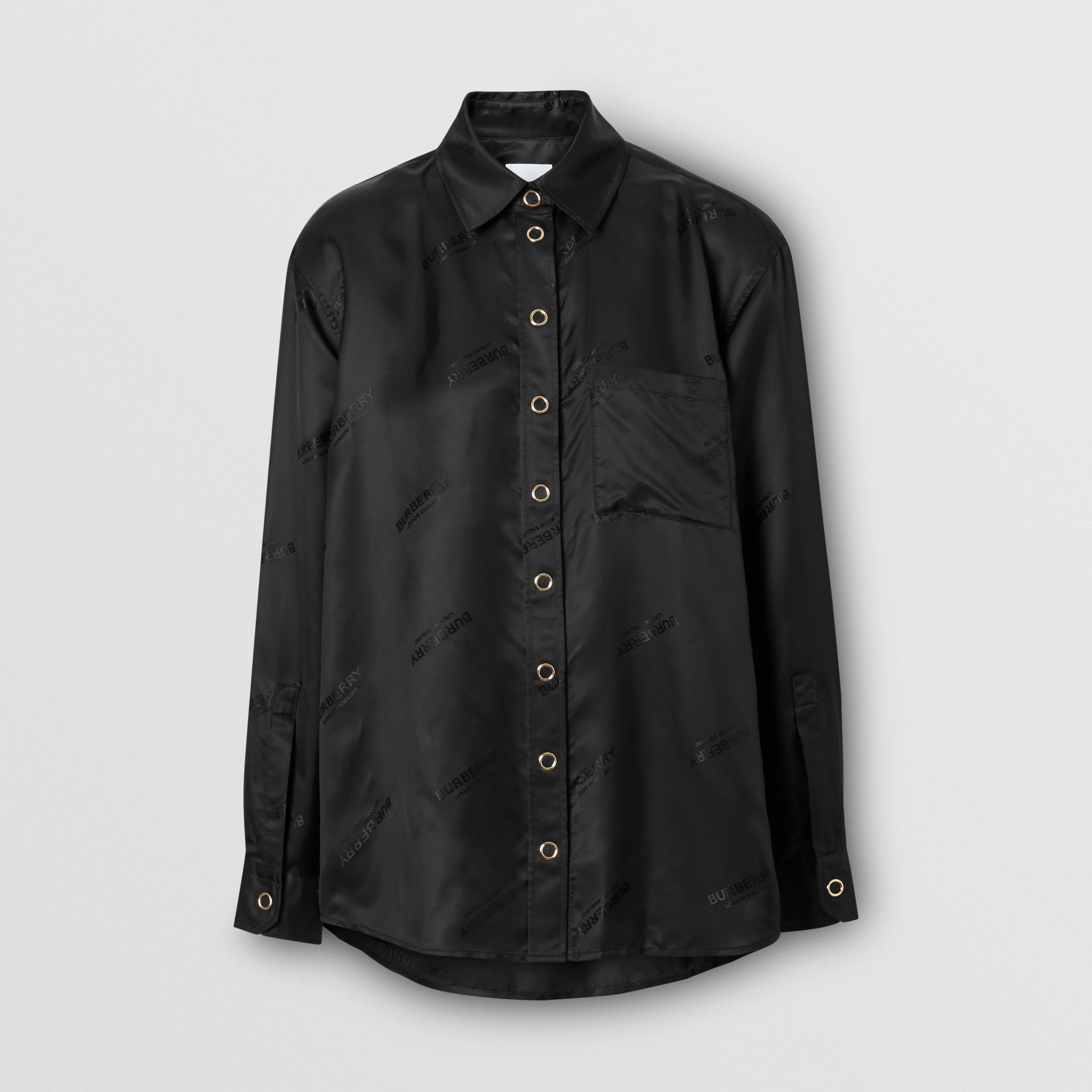 Logo Jacquard Shirt in Black - Women | Burberry Hong Kong S.A.R - gallery image 3