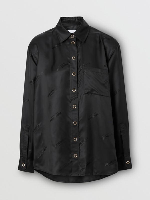 Logo Jacquard Shirt in Black - Women | Burberry - cell image 3