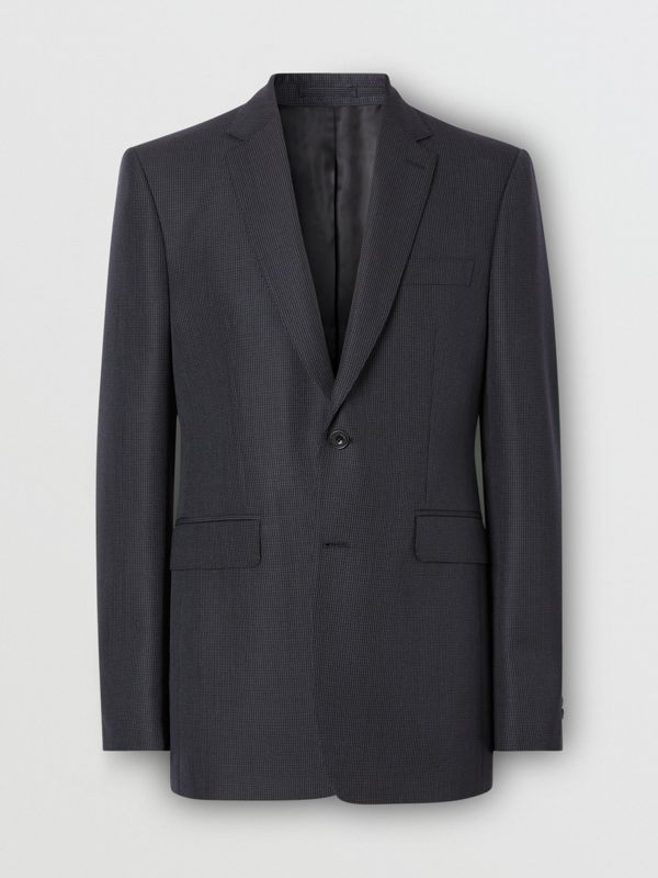Classic Fit Puppytooth Check Wool Mohair Suit in Navy - Men | Burberry - cell image 3
