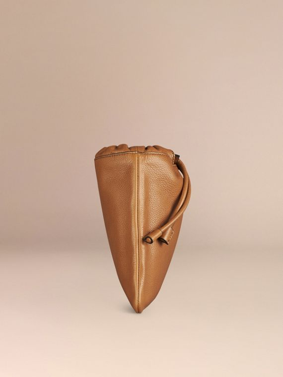 Tan Grainy Leather Drawstring Pouch Tan - cell image 2