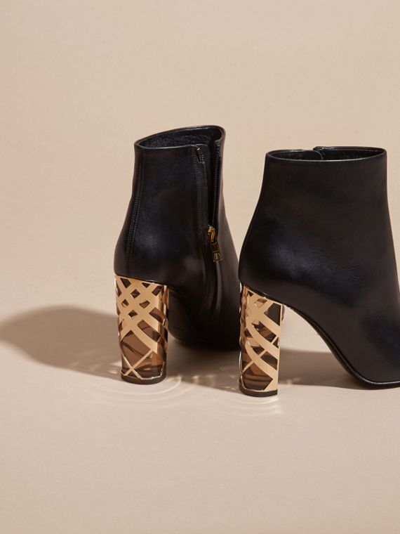 Black Check Heel Leather Ankle Boots - cell image 3