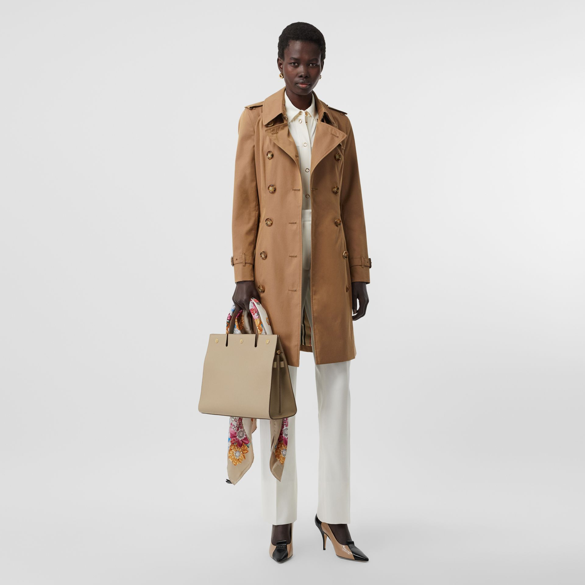 Cotton Gabardine Trench Coat in Warm Taupe - Women | Burberry - gallery image 0