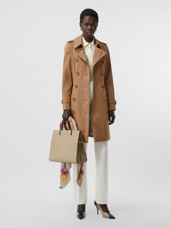 Cotton Gabardine Trench Coat in Warm Taupe