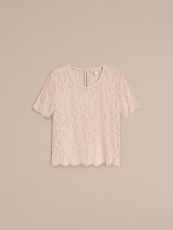 Coral pink Floral French Lace T-Shirt - cell image 3