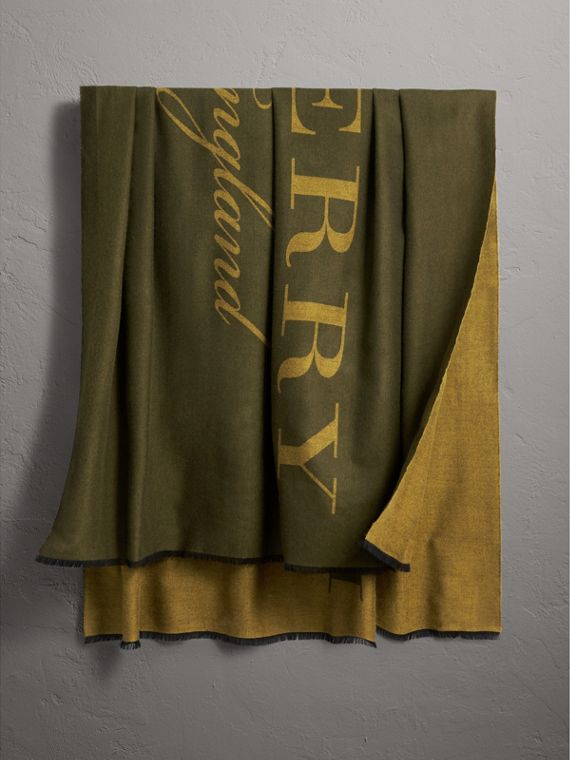 Burberry Lettering Print Cashmere Scarf in Olive